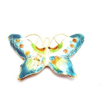 Cloisonne sommerfugl grøn