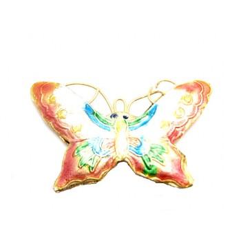 Cloisonne sommerfugl rosa