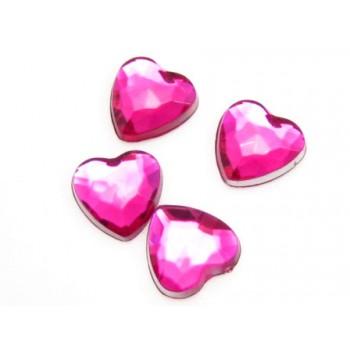 Hjerte til at lime pink - 8 mm - 4 stk