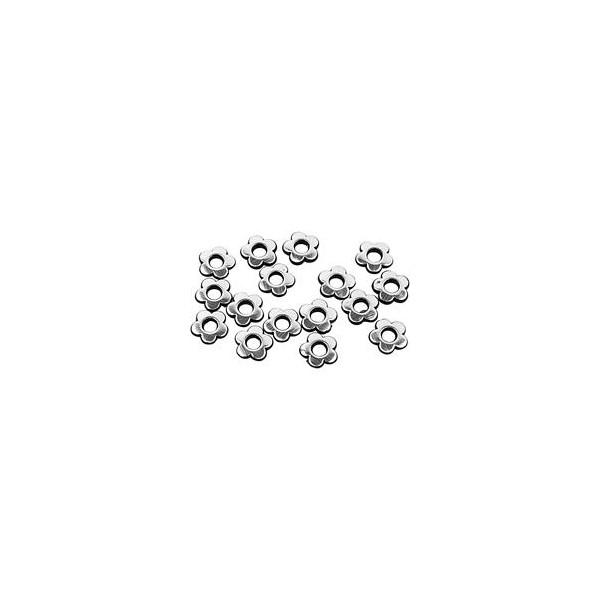 Blomster sort / sølv 14 mm - 8 stk