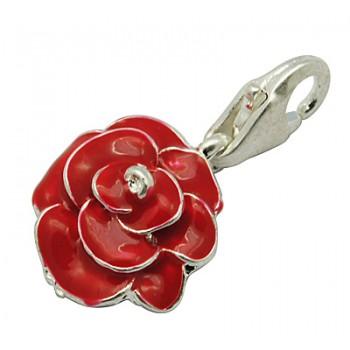 Forsølvet rose med karabin hage 17 mm
