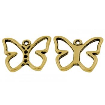Guld sommerfugl 19 mm - 3 stk