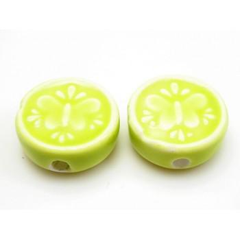 Porcelæns perle flad - rund 17 mm - Æblegrøn - 4 stk
