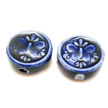 Porcelæns perle flad - rund 17 mm - Mørk blå / lilla - 4 stk