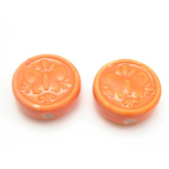 Porcelæns perle flad - rund 17 mm - Orange - 4 stk