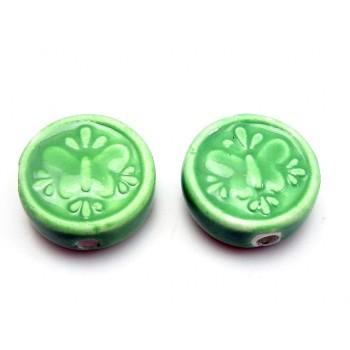 Porcelæns perle flad - rund 17 mm - grøn - 4 stk