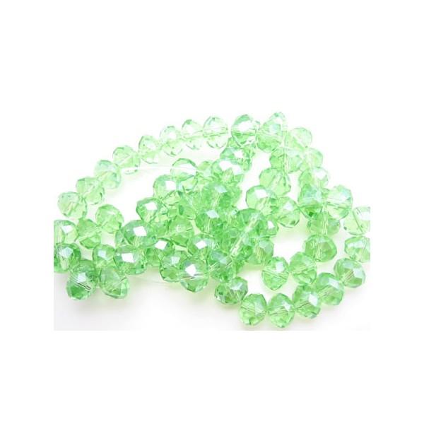 Facet slebne glas perler 8 x 6 mm - 1 streng - Grøn