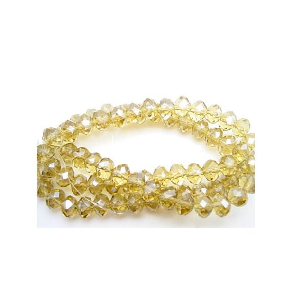 Facet slebne glas perler 8 x 6 mm - 1 streng - lys brun