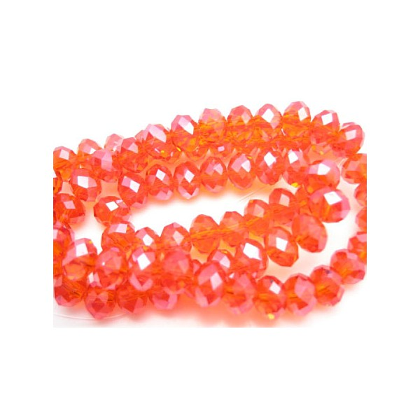Facet slebne glas perler 8 x 6 mm - 1 streng - Rød