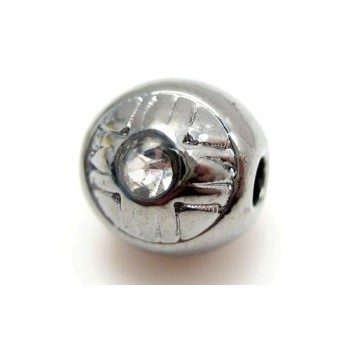 Massiv mørk platineret perle med sten rund 8 / 2 mm - EKSKLUSIV