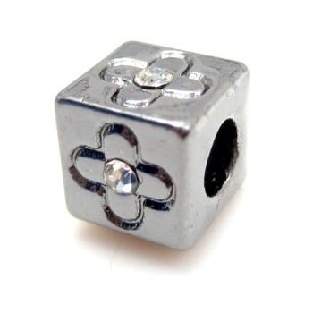 Massiv mørk platineret perle med sten firkantet 9 / 2,5 mm - evt