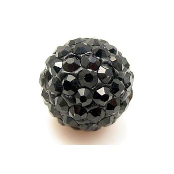 Rhinstens perle 10 mm - sort - EKSKLUSIV