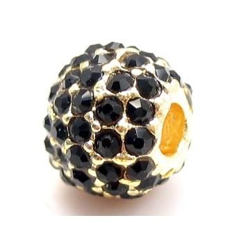 Rhinstens perle guld bel m/ stene 10 mm - EKSKLUSIV.