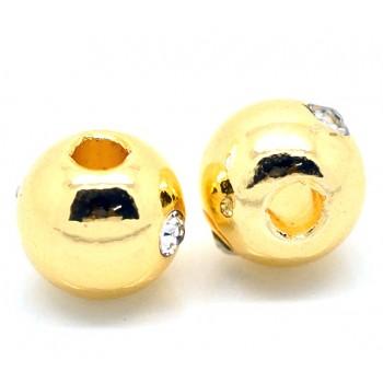 Massiv guld belagt perle med sten rund 8 / 2,5 mm - EKSKLUSIV