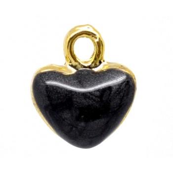 Guld belagt buttet emalje hjerte 12 mm - Sort
