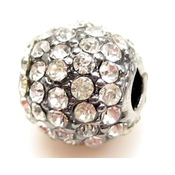 Rhinstens perle rhod. sølv  m/ kl stene 10 - EKSKLUSIV
