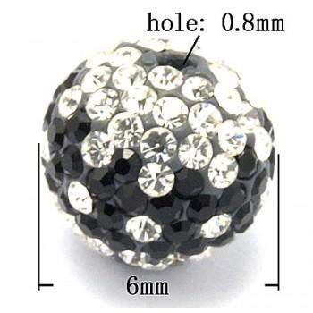 Rhinstens perle 6 mm - sort / klare stene  - EKSKLUSIV