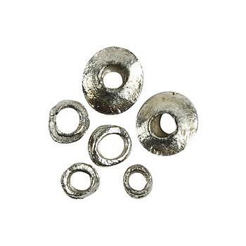 Rustikke sølv perler 6-14 mm - 14 stk