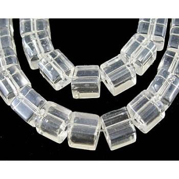 Firkantet glasperle 4 x 4/ 1 mm - klar - 20 STK