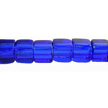Firkantet glasperle 4 x 4/ 1 mm - Blå -  20 STK