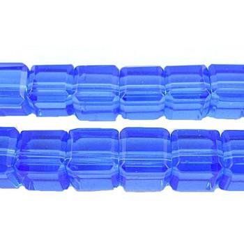 Firkantet glasperle 8 x 8/ 1 mm - Blå -  12 STK