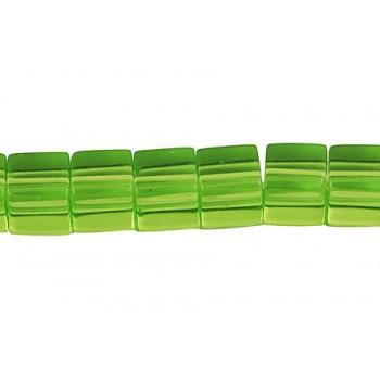Firkantet glasperle 8 x 8/ 1 mm - Grøn -  12 STK