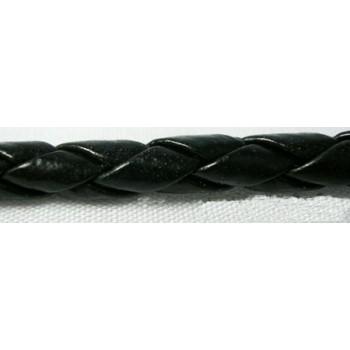 Bola imiteret sort lækker 4 mm tyk pr m - SUPER BILLIGT