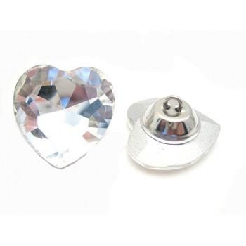 Stor krystal hjerte knap 27 mm