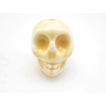 Porcelæns skelet hoved  13,5 / 2 mm - GUL
