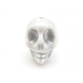 Porcelæns skelet hoved 13,5 / 2 mm - GRÅ