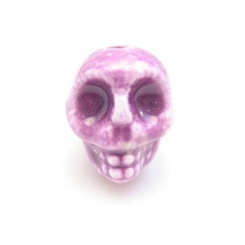 Porcelæns skelet hoved  13,5 / 2 mm - LILLA