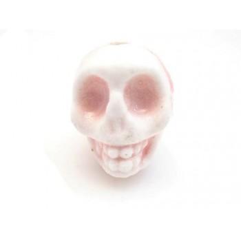 Porcelæns skelet hoved  13,5 / 2 mm - SART ROSA