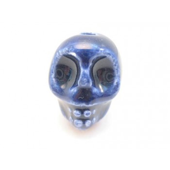 Porcelæns skelet hoved  13,5 / 2 mm - MØRK BLÅ