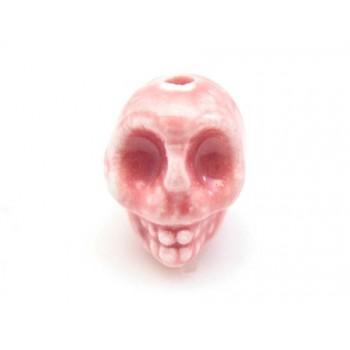 Porcelæns skelet hoved  13,5 / 2 mm - ROSA