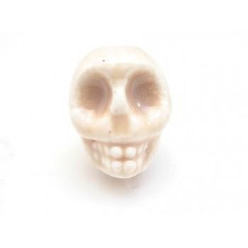 Porcelæns skelet hoved 13,5 / 2 mm - LYS BRUN