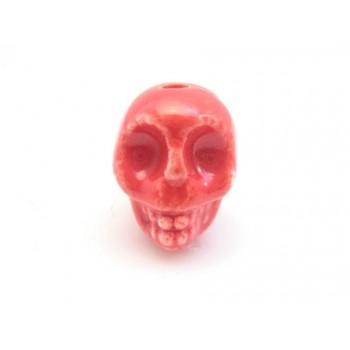 Porcelæns skelet hoved  13,5 / 2 mm - RØD