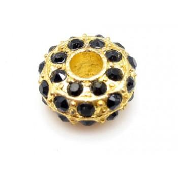 Kraftig guld rondel med stene - mørk grøn