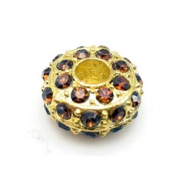 Kraftig guld rondel med stene - BRUNE