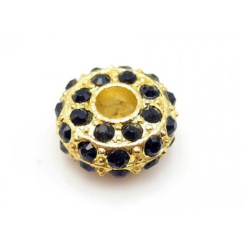 Kraftig guld rondel med stene - SORT