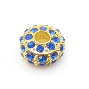 Kraftig guld rondel med stene - BLÅ