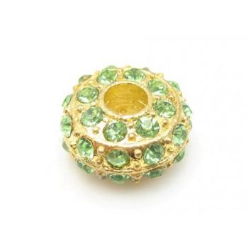 Kraftig guld rondel med stene - LYS GRØN
