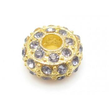 Kraftig guld rondel med stene - LYS LILLA