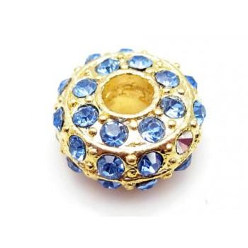 Kraftig guld rondel med stene - LYS BLÅ