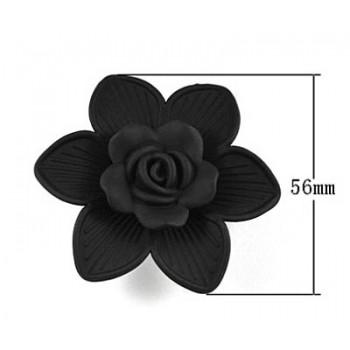 Stor sort blomst 56 mm med 4 huller