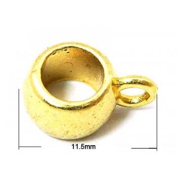 Vedhængsperle glat - 2 stk - guld