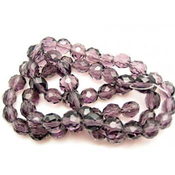 Facet slebne glas perler 8 x 6 mm - 1 streng - Lilla.
