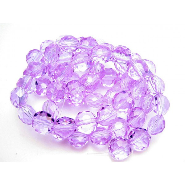 Facet slebne glas perler 8 x 6 mm - 1 streng - Lys lilla.