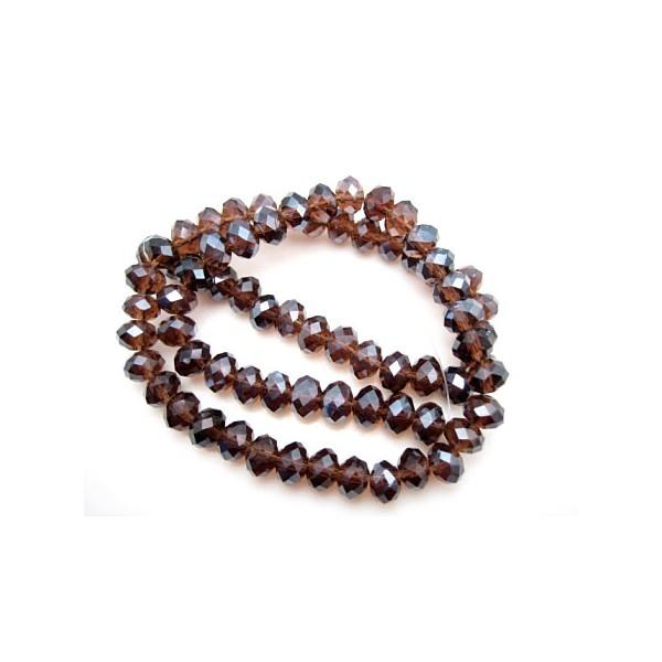 Facet slebne glas perler 8 x 6 mm - 1 streng - Brun
