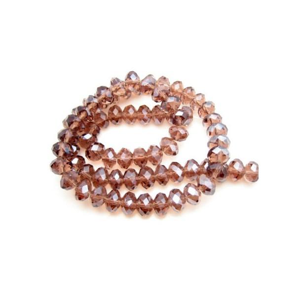 Facet slebne glas perler 8 x 6 mm - 1 streng - Aubergine/blomme