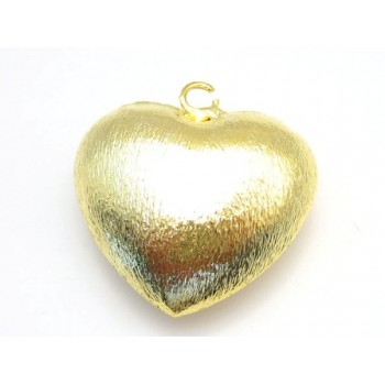Hjerte børstet guld 26 mm